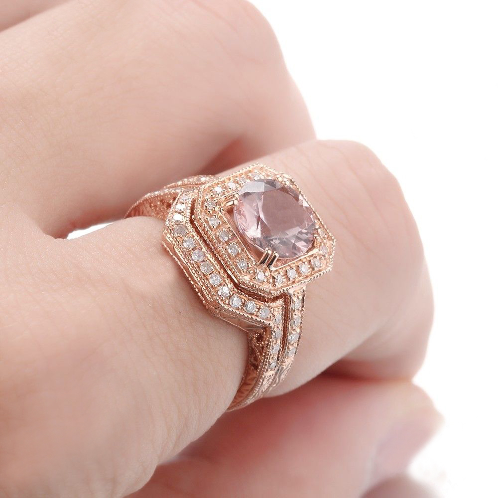 HELON Solid 14K Rose Gold Round Cut 8mm Morganite Diamonds Ring ...