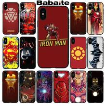 Marvel Avengers Case Para iphone 7 Caso Do Homem De Ferro Capitão América Capa de Silicone Casos de Telefone Para O iphone 6 6S 5S XR XS max 8 PLus X(China)