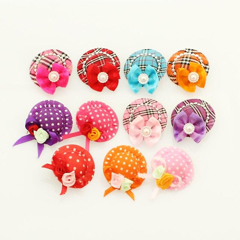 Armi store аксессуары ручной работы для собаки милый зажим лента для шляпы лук 6027001 товары для домашних собак - Цвет: Mix Colors
