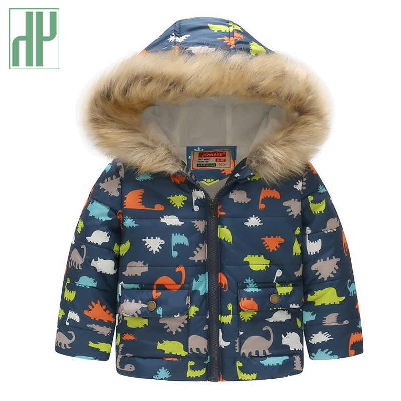 HH Kids winter jacket with fur Hooded dinosaur Printed rainbow children snow jacket Boy Windbreaker Outerwear Girls Parkas Coats