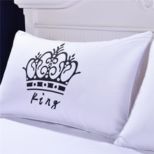2 Pieces Royal Crown Pillow Cases Queen and King Designer Pillow Covers Decorative Couple Pillow Shams for Gift