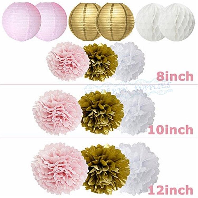 Girls-Baby-Shower-Party-Decoration-Set-Pink-Gold-Paper-Lantern-Pom-Poms-Tissue-Tassel-Garland-IT (2)