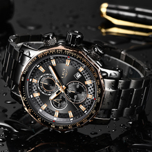 Montre Homme Luxe LIGE Mens Watches Stainless Steel Waterproof Wrish Watch Multi Function Gold Luxury Sport Watch+Box