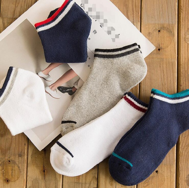 ankle socks thicken warm Fuzzy terry elastic short for spring autumn winter Men Man Male Boy soft solid color with strip wh