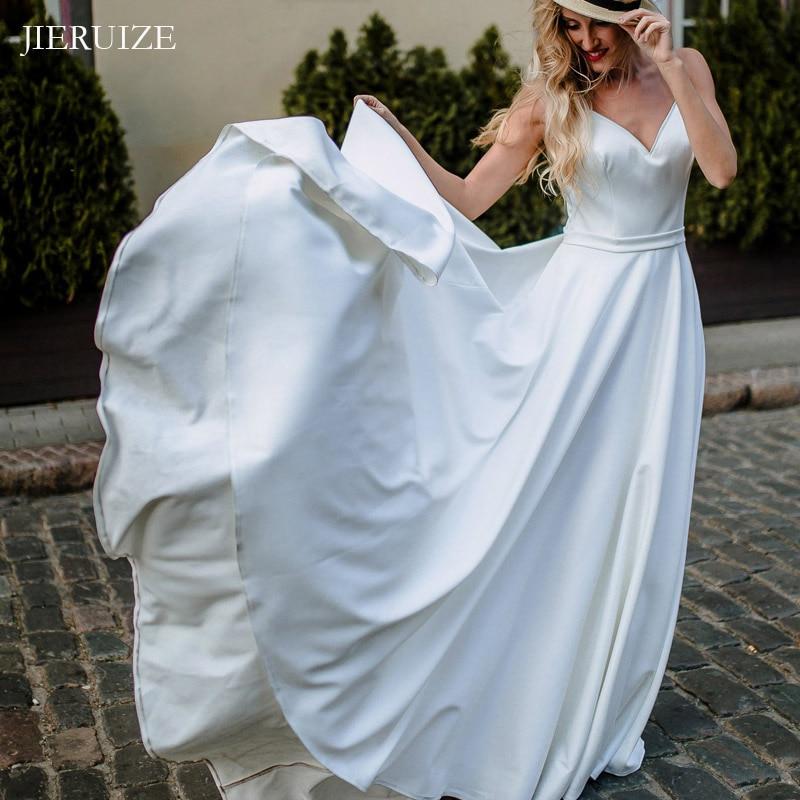 JIERUIZE White Satin Simple Boho Wedding Dresses V-neck Backless Beach Bride Dresses Wedding Gowns robe de mariee