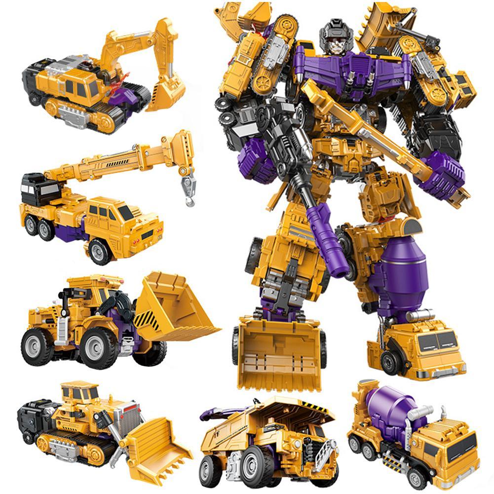 Powerful Engineering Vehicle Series 6 In 1 Dumper Truck Mixer Truck Forklift Truck Crane Excavator Bulldozer Plastic Robot