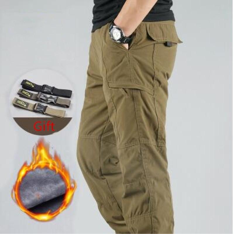 Men's Cargo Pants 2019 Winter Casual Warm Thicken Fleece Pants Men Cotton Multi Pockets Combat Military Baggy Tactical Pants 4