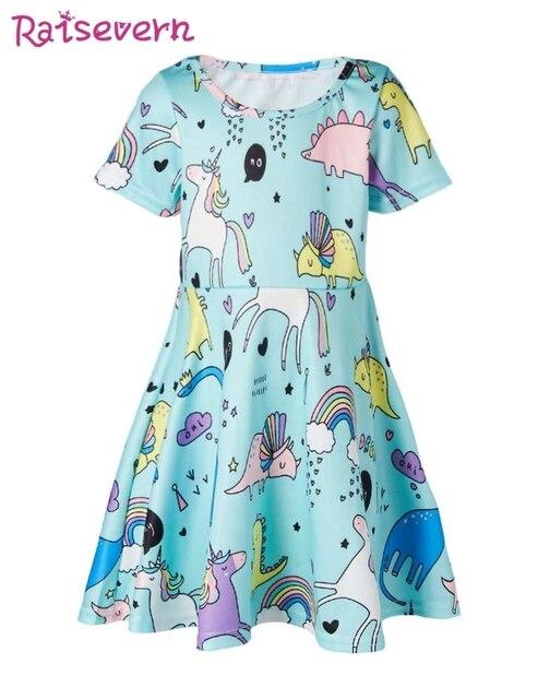 5eca8358d6b0 Cartoon Dinosaur Print Kids Dress For Girls Funny Unicorn Animal Pattern Girls  Summer Dress Casual Party