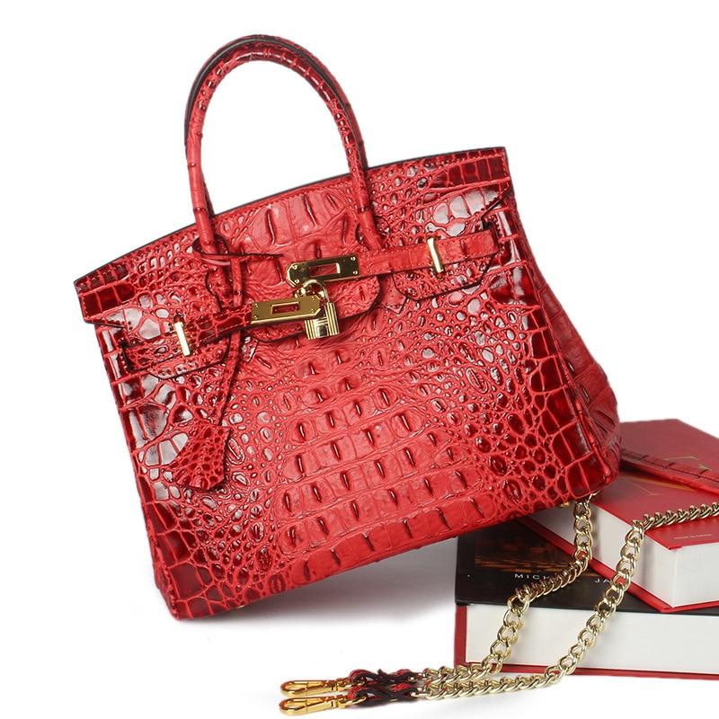 ФОТО FOXTAIL & LILY  Women Leather Handbags Shoulder Crossbody Bags Genuine Leather Bag Bolsas ladies tote bag Crocodile bag gift