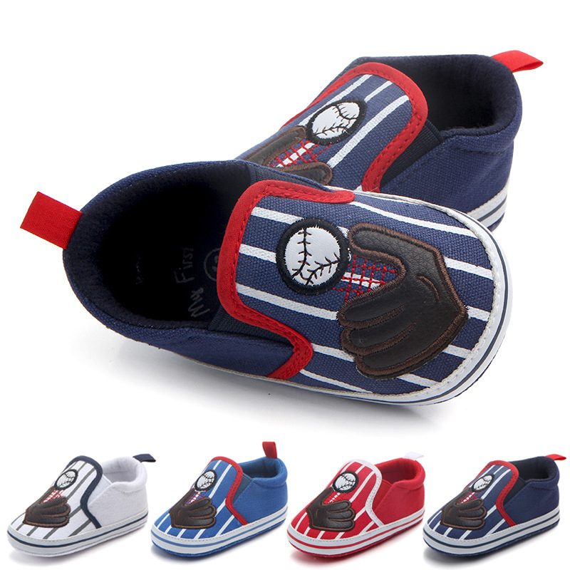 Baby Sneakers 2017 Childrens Boys Girls Baby Canvas Shoes Baseball Sports Soft Board Loafers First Walker Toddler Shoes DS19