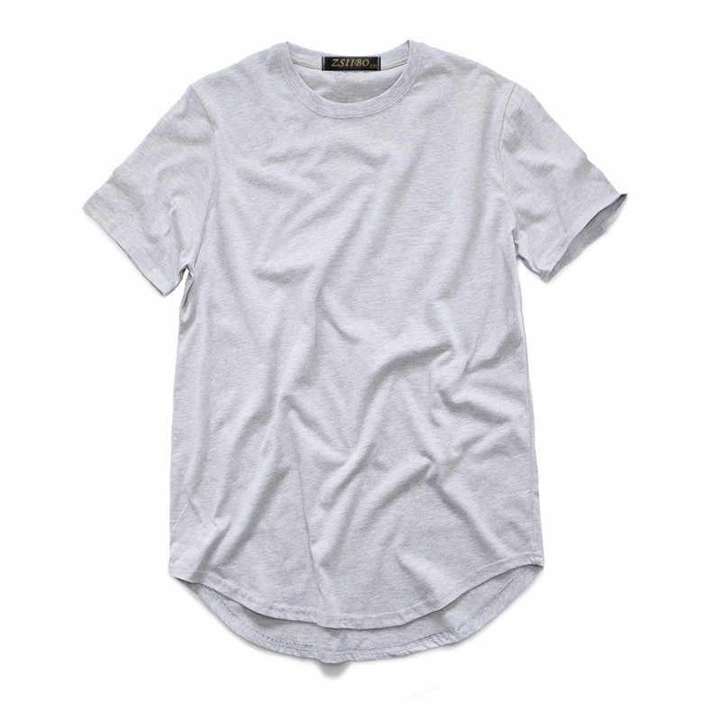 メンズ Tシャツカニエ西拡張 Tシャツ男性服湾曲した裾ロングライントップスヒップホップアーバンブランクジャビーバー TX135-R