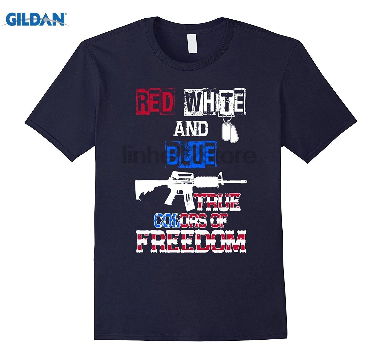 GILDAN Red White and Blue true colors of freedom- 4th of july t shi Hot Womens T-shirt Dress female T-shirt