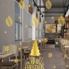 Christmas stickers, no glue, static stickers, no marks, shop windows, glass windows, high grade golden Christmas decorations.
