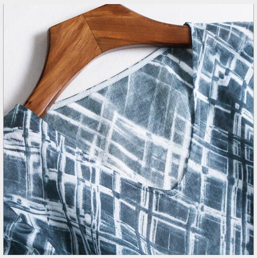 Lady Cadrage Manches En Nouveau Casual Robe Grey Col A Printemps Fit ligne Impression V Manteaux Slim Élégant Fashion 2018 Femmes zFxq7C