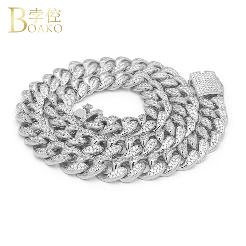 Fashion 18inch-28inch 20mm Iced Out Bling Necklace Men Rhinestone Crystal Miami Cuban Link LOng Chain Men'S Hip Hop Jewelry G2FH fashion sexy 28inch 100