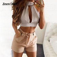 2018 Newest Chiffon Crop Top Sexy Halter Backless Summer Top Solid Pleated Streetwear Top Cropped For