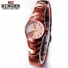 100 original Binger Quartz Brown Tungsten Steel Watch Fashion Elegant Gold Analog Wristwatch Good Quality Factory