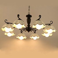 Factory Direct Sale LED Creative Lights Korean American Pastoral Ceramic Chandelier For Living Room Modern Lamps