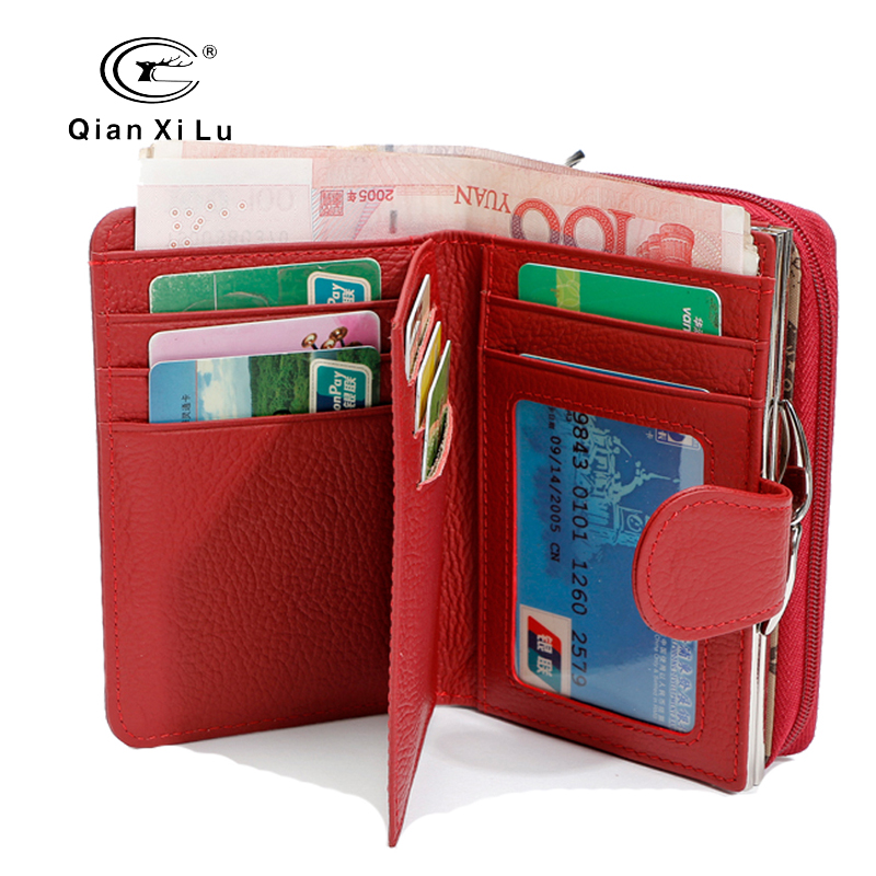 Qianxilu 2017 New Genuine Leather Coin Purse Wallet High Capacity Fashion Dollar Price Card Holder Female Bags 2016 new arrive pvc and pu leather purse american marvel comic deadpool wallet with card holder dollar price free shipping