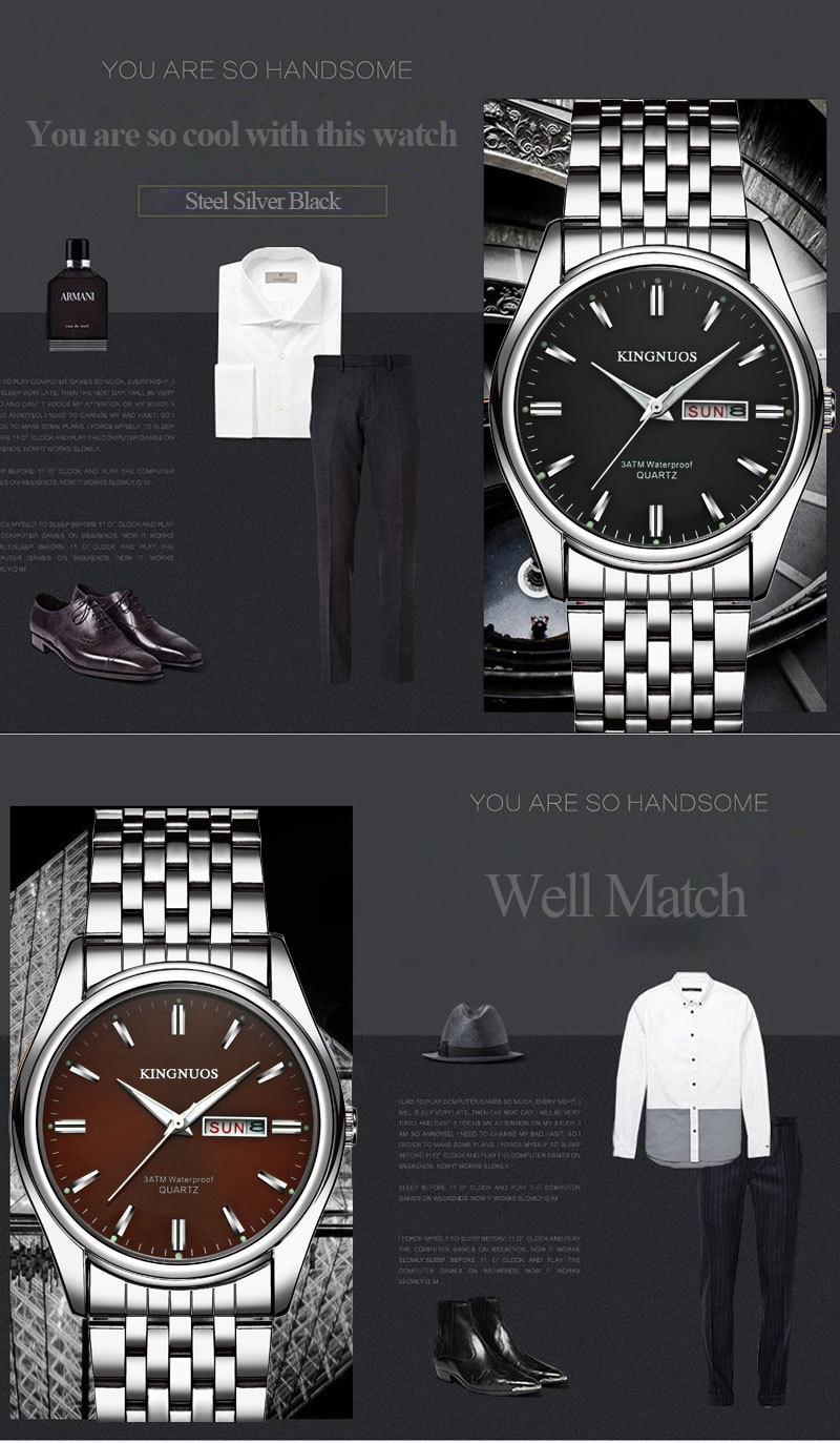 HTB1TpKehIuYBuNkSmRyq6AA3pXaG Kingnuos Brand New Design Business Man Watch Steel Waterproof Luminous Hour Date Week Clock Male Hodinky Quartz Men's Watch