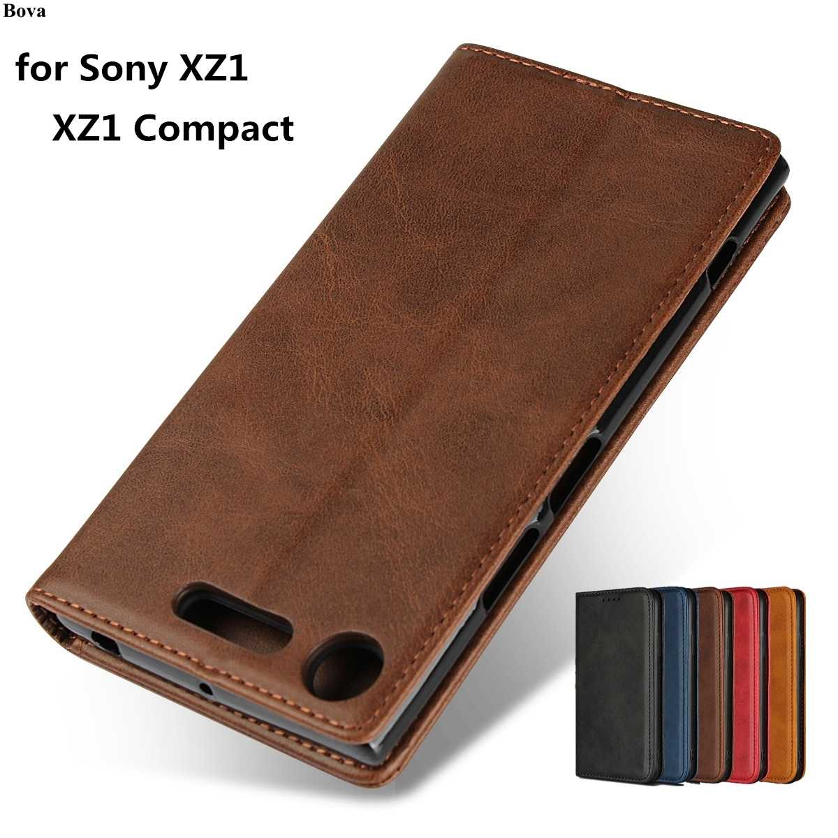 "Leather case Cho Sony Xperia XZ1/XZ1 Nhỏ Gọn 4.6 ""& 5.2"" lật trường hợp chủ thẻ Holster attraction Magnetic Bìa Wallet Trường Hợp"