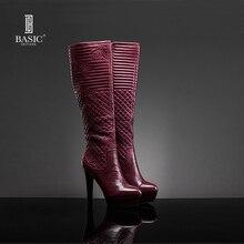 Basic Editions 2016 Automne Hiver Robe Bottes En Cuir Véritable Genou-Haute mujer à talons hauts bottes d'hiver 1129-16-8 Livraison gratuite