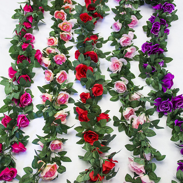 Artificial rose flowers vines fake silk flower garlands hanging rose artificial rose flowers vines fake silk flower garlands hanging rose ivy plants for wedding party arch mightylinksfo