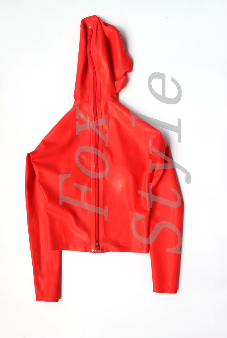 red color latex fetish Top Costumes with latex glued mask for women fancy with hoods 3d cutting bust