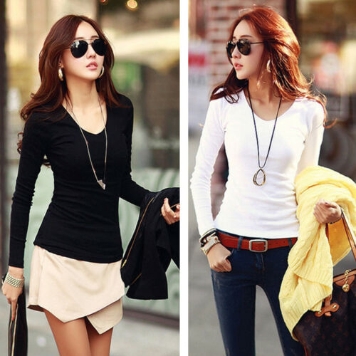 Summer Women's Fashion Loose Cotton Long Sleeve Solid Color V-Neck Full T-Shirt Tee Loose Tops S-XL