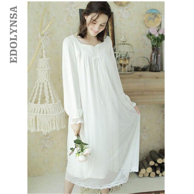White Cotton Sleepwear Vintage Nightgown Princess Style Night Wear Sleeping  Dress Women Clothes Elegant Autumn Nightdress T246 a8da9027562d