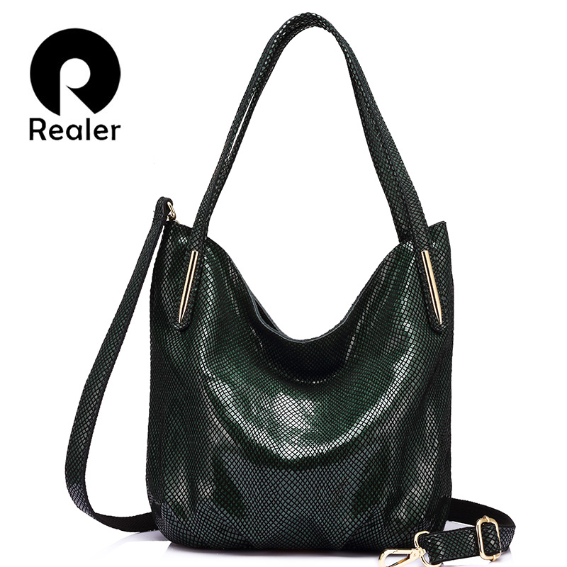 REALER Brand fashion women genuine leather shoulder bag female serpentine print handbag hign quality zipper crossbidy bag 2017 yuanyu 2018 new hot free shipping python skin women handbag single shoulder bag inclined female bag serpentine women bag