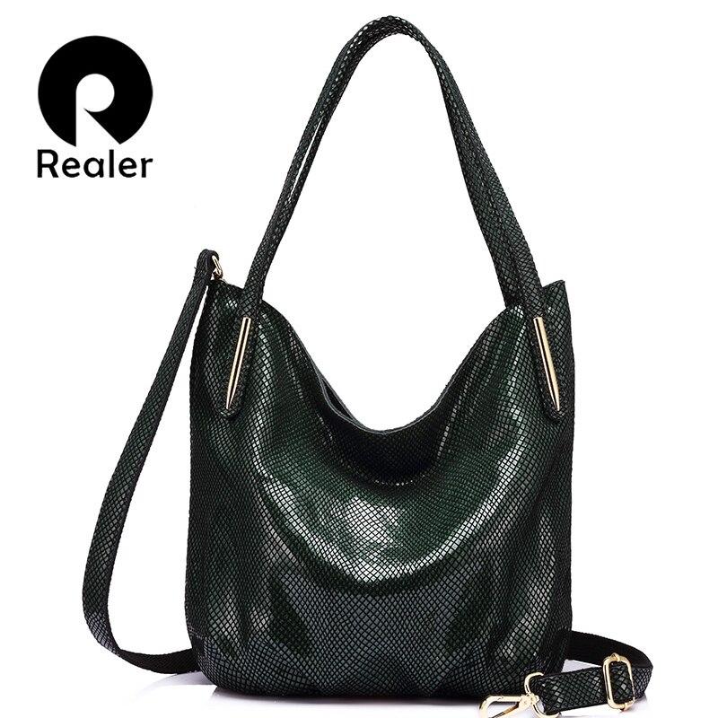 Realer Модные женские Натуральная кожа Сумка Женский змеиный принт сумки высококачественные молнии сумка 2017