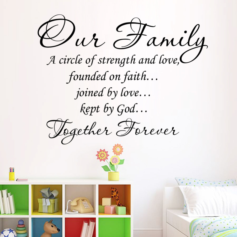 Our family together forever quotes letter pattern design pvc wall our family together forever quotes letter pattern design pvc wall sticker wedding decoration vinyl mural in wall stickers from home garden on junglespirit Image collections