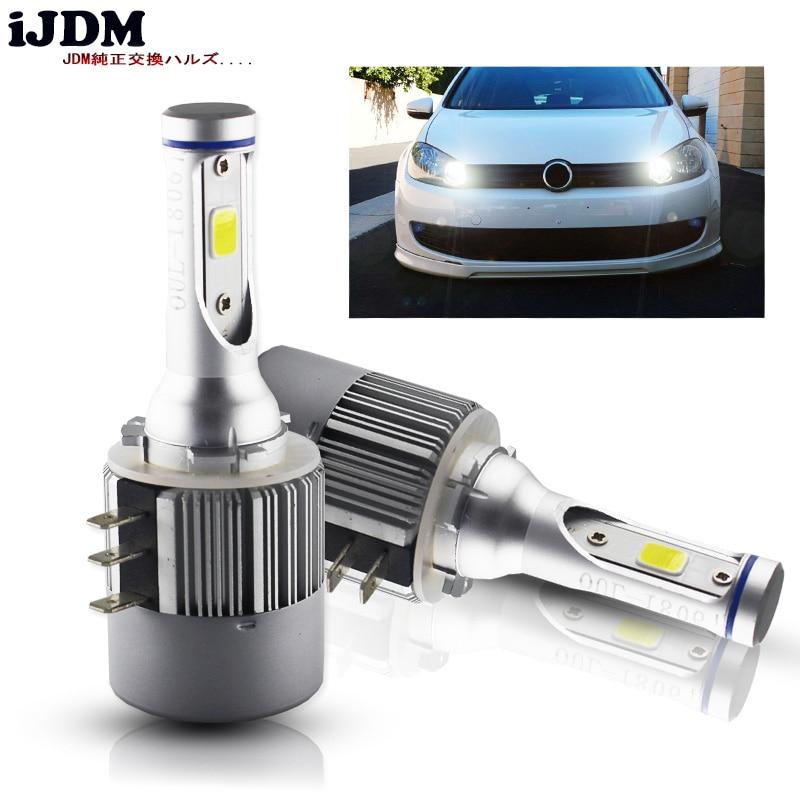 Ijdm lâmpada para farol automotivo, h15, led, 24w, 2000lm, sem fio, 12v, luz de conversão, 6500k branco para vw audi bmw