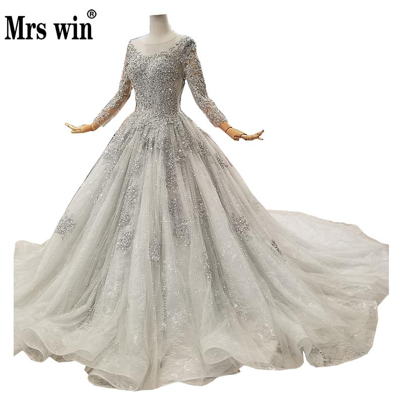 Mrs Win 2019 Vestido De Novias  Full Sleeve Sexy Backless Princess Luxury Beading Wedding Dress Robe De Mariee Grande Taille F