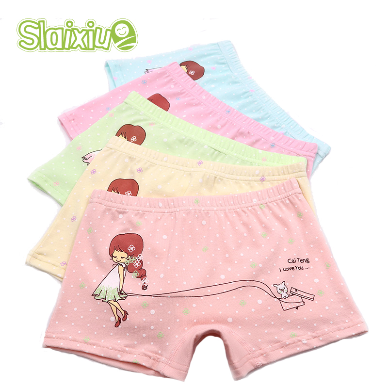 5Piece/Lot Organic Cotton Material Kids Girls Underwear Dot Cute Cartoon Colors Girls Boxer For Baby   Panties   Children's Clothi
