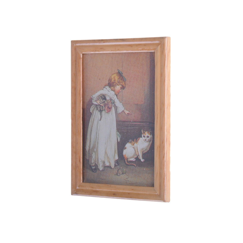 US $1 17 41% OFF|Resin Frame Girl and Cat Mural Wall Painting Dollhouse  Miniature 1:12 Classic Toys Dollhouse Picture Decoration New Arrivals-in