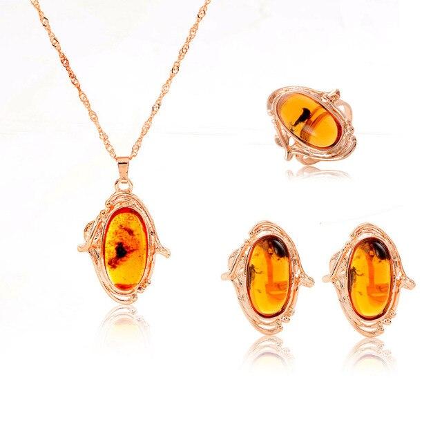 ZOSHI חדש הגעה אישה של תכשיטי סט רומנטי יפה טבעי אבן חרוז זהב עגיל/טבעת/שרשרת סט