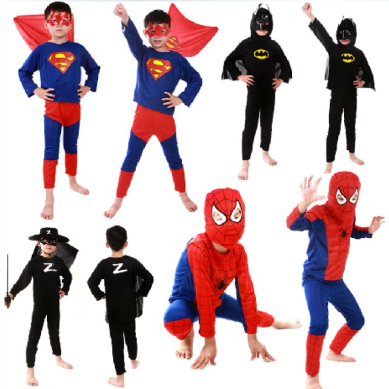 50 set / lote Envío Gratis Niños Disfraces de Halloween Cosplay Niños Niños Spiderman Superman Zorror Batman Superhéroe Fancy Dress