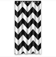 Love Infinity Forever Love Symbol Chevron Pattern Black White Waterproof Bath Fabric Shower Curtain 36w 72h