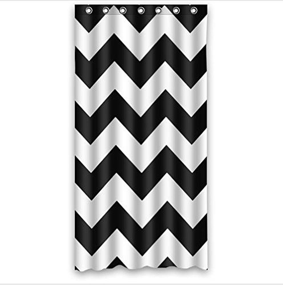 Black and white chevron curtain - Love Infinity Forever Love Symbol Chevron Pattern Black White Waterproof Bath Fabric Shower Curtain 36w