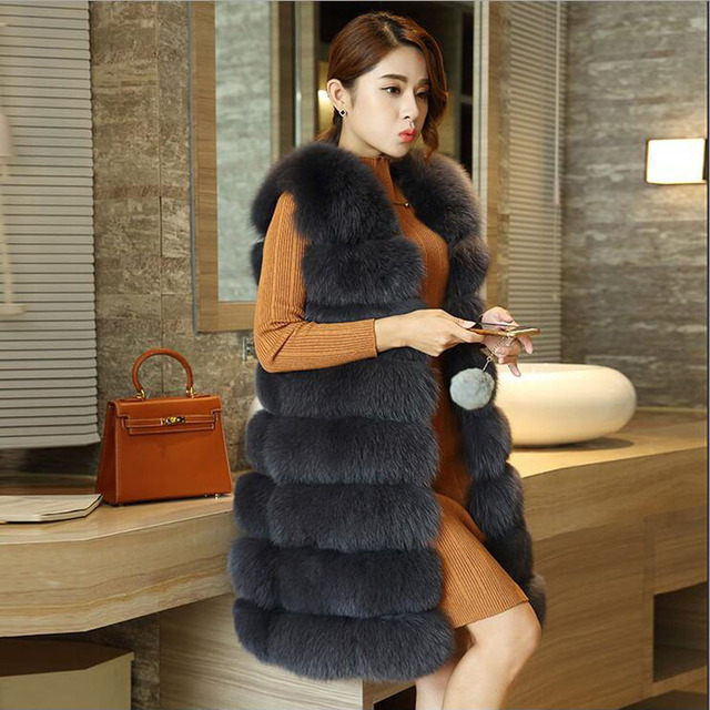 Женщины Настоящее Фокс Меховой Жилет Женский Зима Осень Натурального Меха Лисы жилет Пальто Мода Леди Жиле Природный Настоящее Меховой Жилет для Женщин