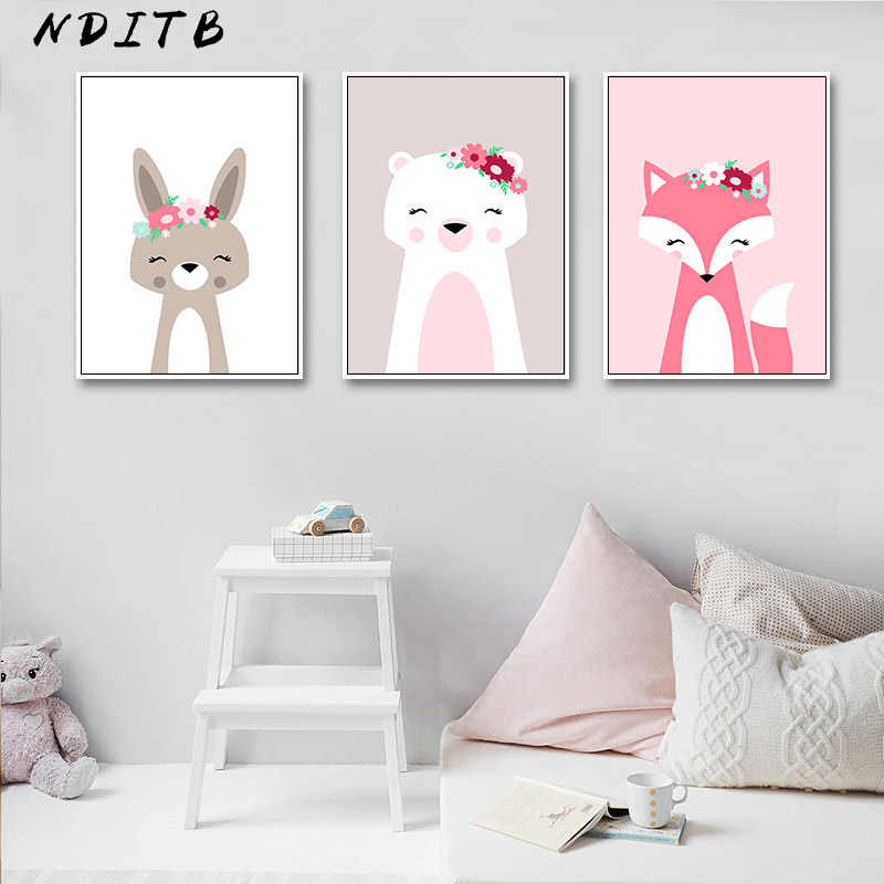 Woodland Animal Flower Nursery Posters and Prints Wall Art Canvas Painting Nordic Kids Decoration Picture Baby Bedroom Decor