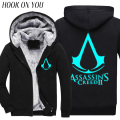 2017 Fashion Winter Noctilucence Luminous Assasins Creed Hoodie Men Black Cosplay Sweatshirt Thicken Fleece  Cool Men Warm Coat