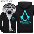 2017 Fashion Winter Noctilucence Luminous Assasins Creed Hoodie Men Black Cosplay Sweatshirt Thicken Fleece  Cool Men Warm Coat