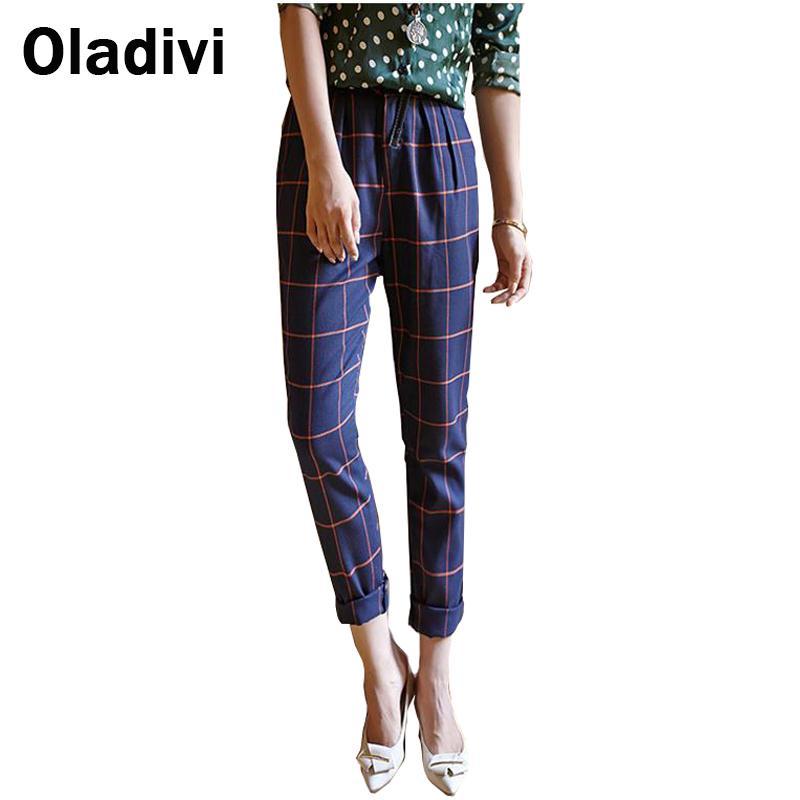 36ab21ef069d9 British Style Fashion Plaid Slim Trousers Vintage Elegant Women ...
