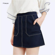 VANLED 2017 Hot Selling Women Street Skirt Cotton  Skirts Womens Casual England Style Black Bodycon Denim Skirts Womens New Z112