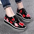 Primavera new star sapatos de fundo grosso sapatos de plataforma plana com mulheres lazer sapatos tamanho grande feminino lace-up mocassins zapatos obuv