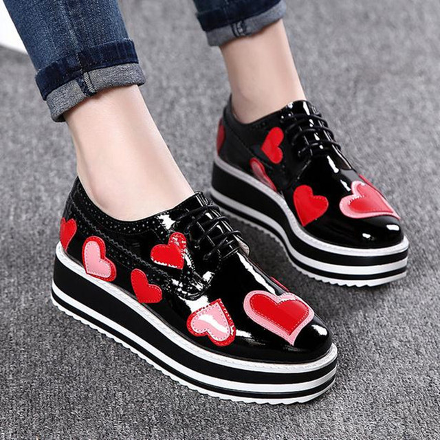 Spring new star shoes thick bottom Platform shoes Flat with leisure women shoes Large size Female lace-up Loafers zapatos obuv