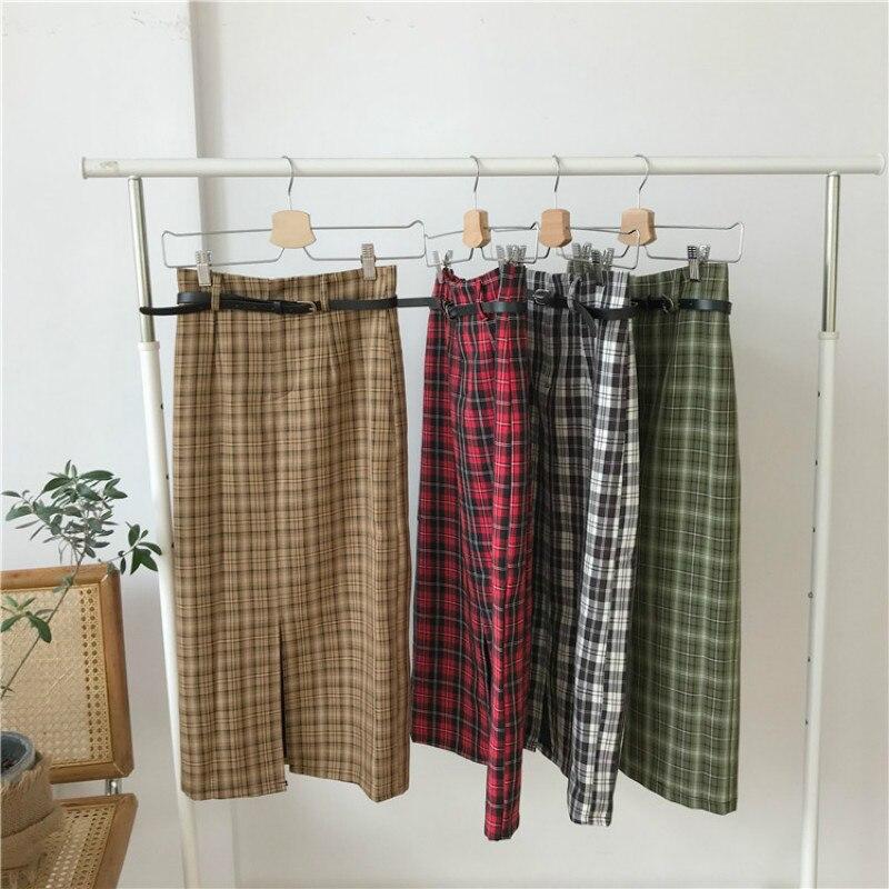 564109078 Falda de tubo a cuadros de otoño para mujer con cinturón cintura elástica  Split Midi falda Jupe ...